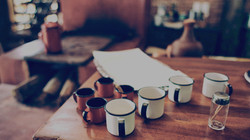 coffee cups on table in a cafe