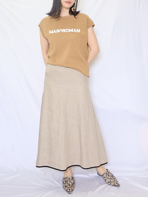 """8008002 LLY   """"MAN/WOMAN """"embroidery       high twist      sleeve less TOPS"""