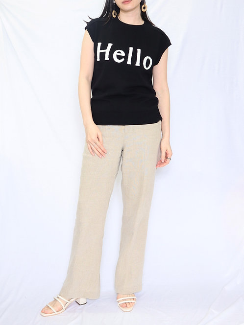 "8008001  LLY ""Hello""embroidery high twist      sleeve less TOPS"