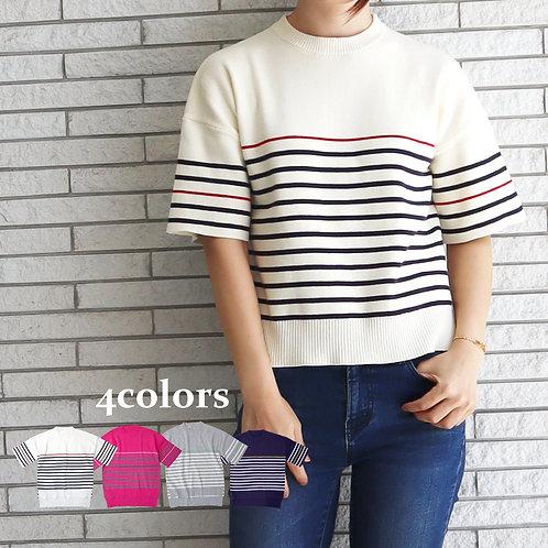 ◆雑誌掲載【LILLY LYNQUE】ボーダーニットTシャツ