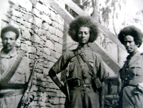 """Jagama Kello (center), the """"boy general"""" of Patriot forces in 1941"""