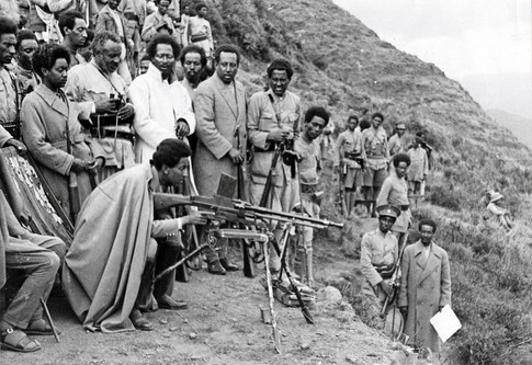 Haile Selassie's eldest son, Crown Prince Asfaw Wossen, having target practice near Dessie, a strategic town north of Addis Ababa, in 1935