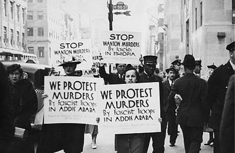 A protest in London in 1935 against Fascist Italy's aggression