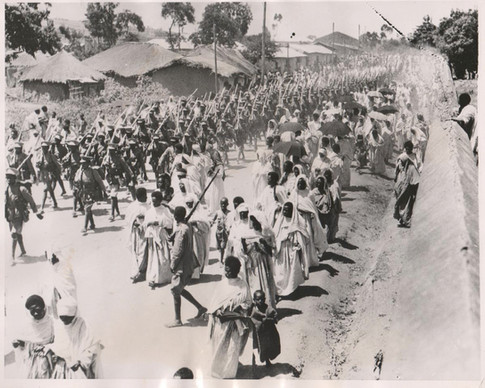 Ethiopian troops march out to Harar, November 12, 1935. Courtesy Martin Plaut
