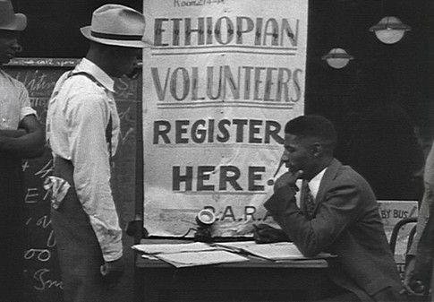 Volunteers in Harlem sign up to fight and defend Ethiopia against Italian aggression