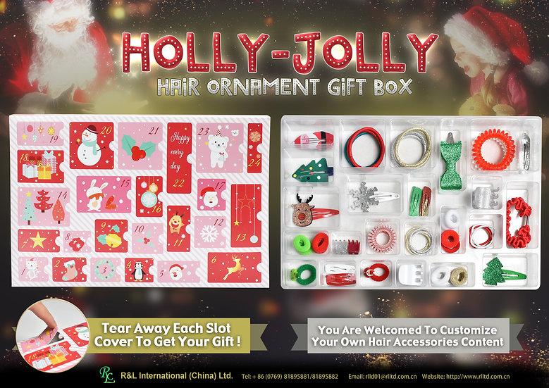(Xmas)HOLLY-JOLLYHairOrnamentGiftBox