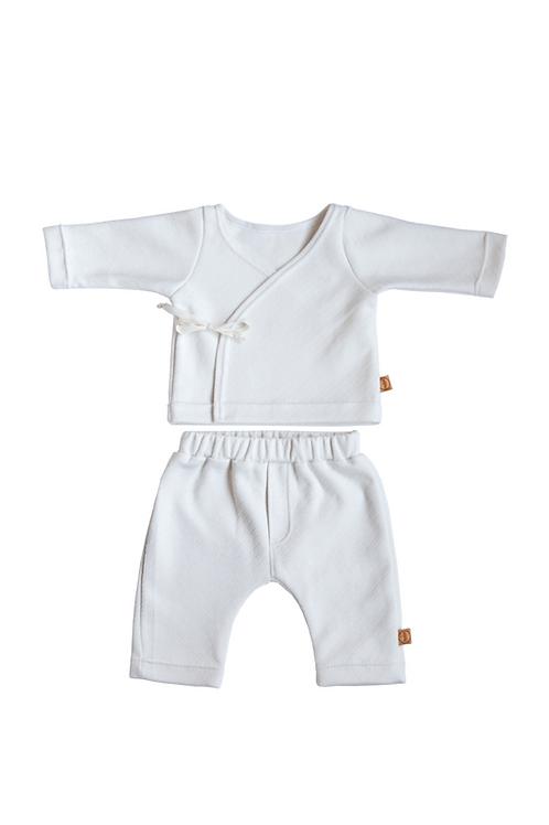 White Striped Newborn Combo Set