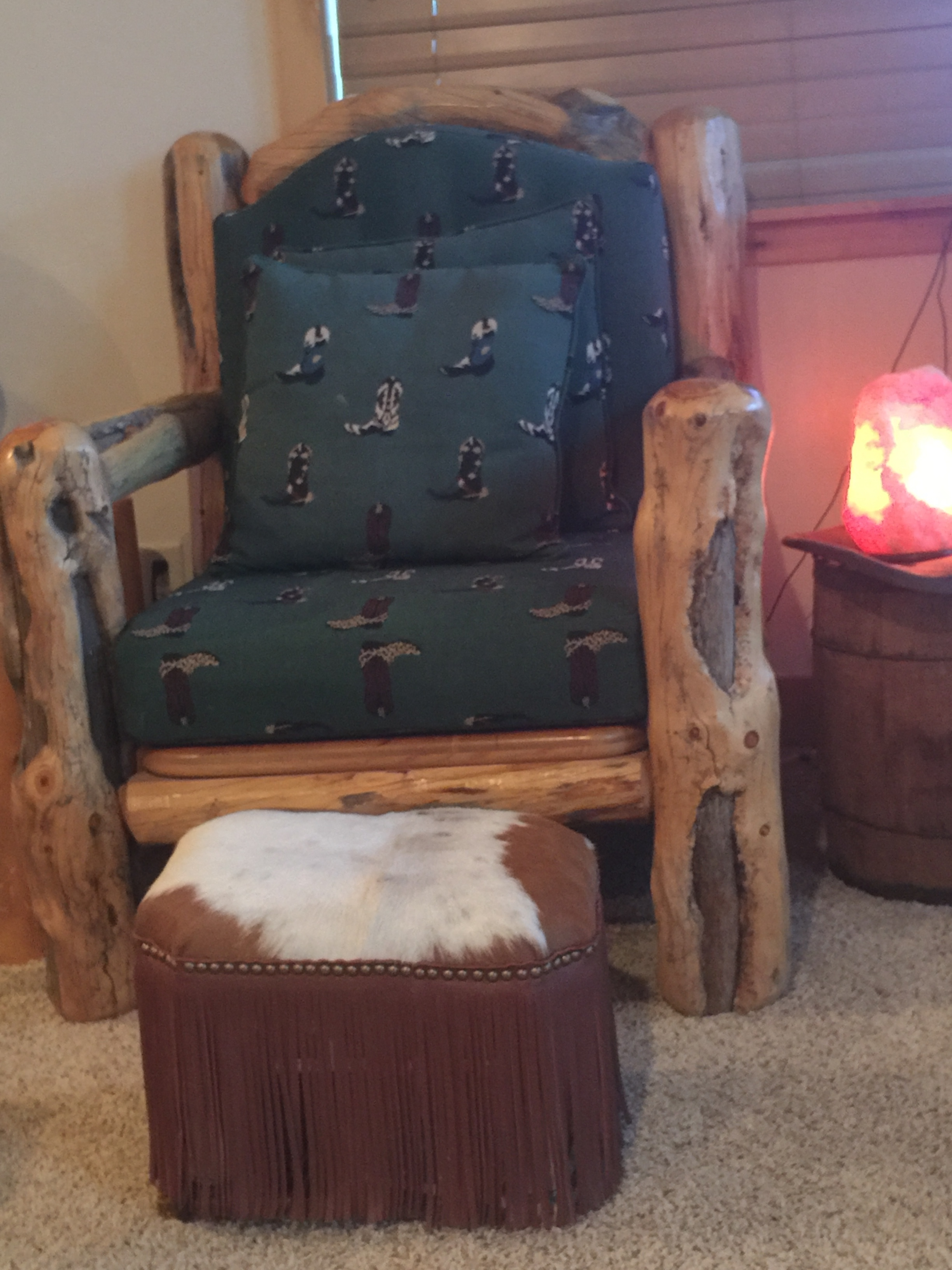 Red/White Cowhide Footstool