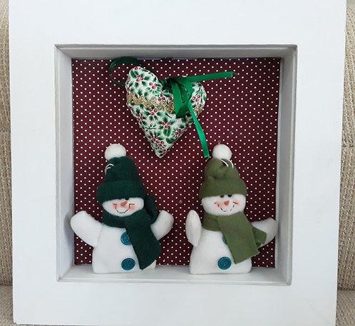 Quadrinho Natal Bonequinhos de Neve verdes