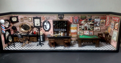 Roombox Triplo Miniatura BAR-BARBEARIA VINTAGE