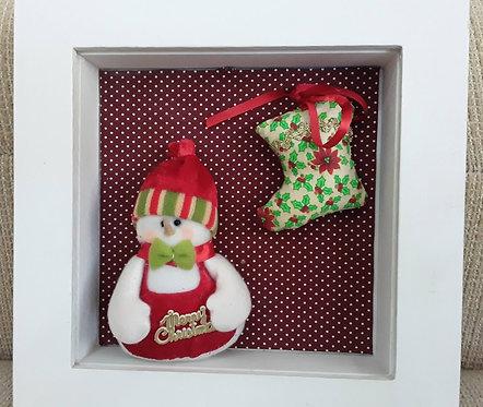Quadrinho Natal Boneco de Neve vermelho