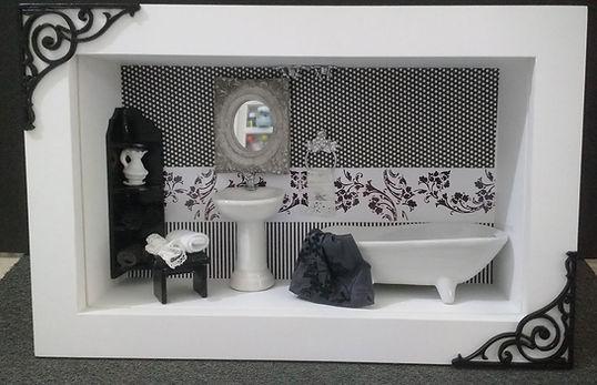 Quadro Miniatura Residência Banheiro Lavabo