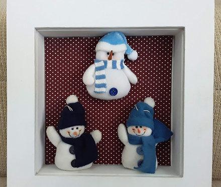 Quadrinho Natal Bonequinhos de Neve Azuis