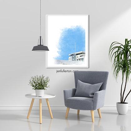 Blue sky – digital watercolour print
