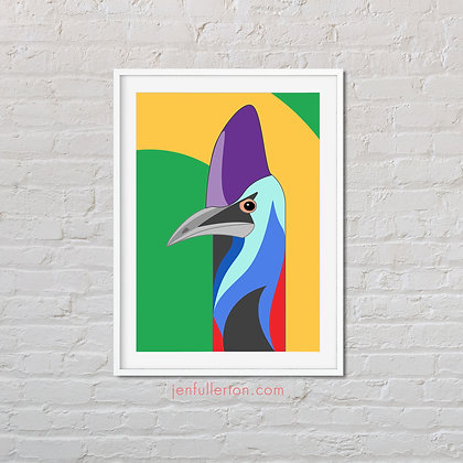 Southern Cassowary – native Australian bird art