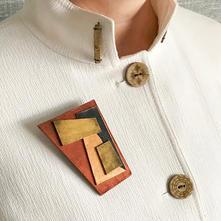 Deco shield brooch
