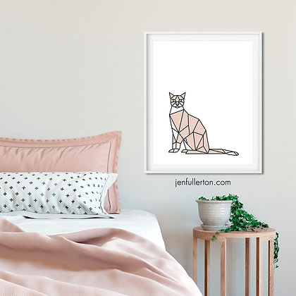 Cool cat (pink/white) – digital art print