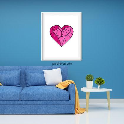 Heart (pink) – geometric digital art
