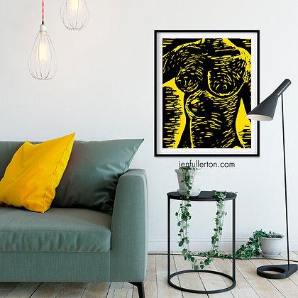 Girl (yellow) – nude from original lino print
