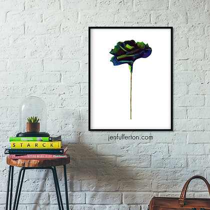 Gothic rose 1 – black and green digital painting