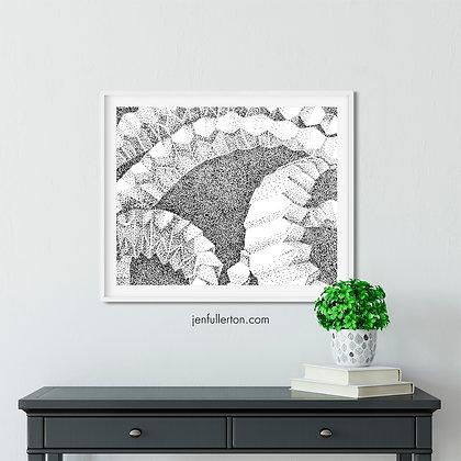 Meditation on a fold – print from original drawing