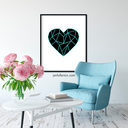 Heart (black/blue) – geometric digital art