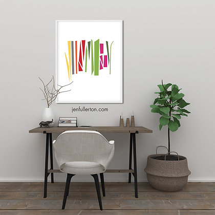 From nature (white) – minimalist collage print