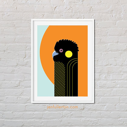 Yellow-tailed black cockatoo print – native Australian bird art