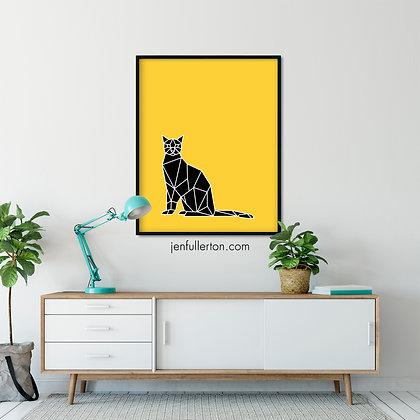 Cool cat (black/yellow) – digital art print