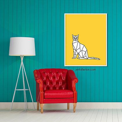Cool cat (yellow) – digital art print