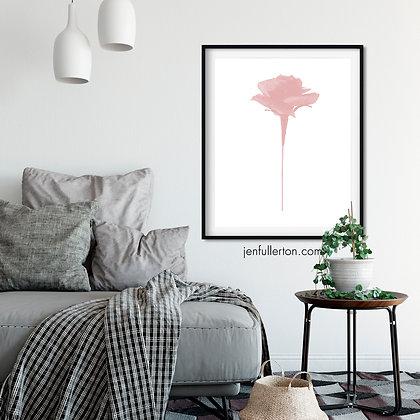 Pink rose 2 – romantic digital art print