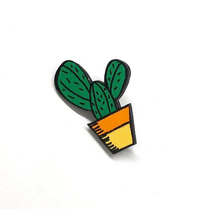 Cactus brooch - dark green and yellow