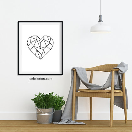 Heart (black and white) – geometric digital art