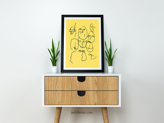 Blind luck (yellow) - abstract drawing poster