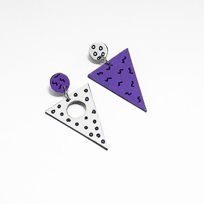 80s retro wedge earrings