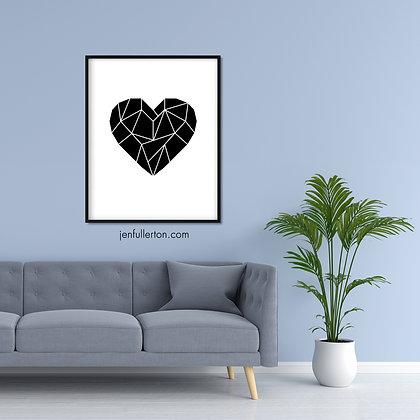 Heart (black on white) – geometric digital art