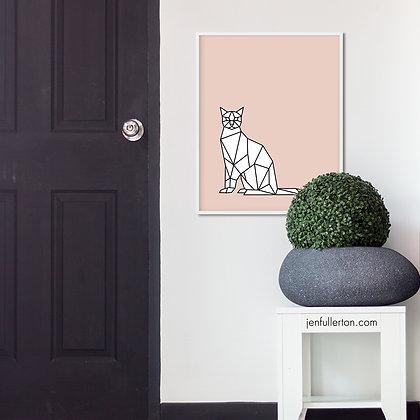 Cool cat (pink) – digital art print