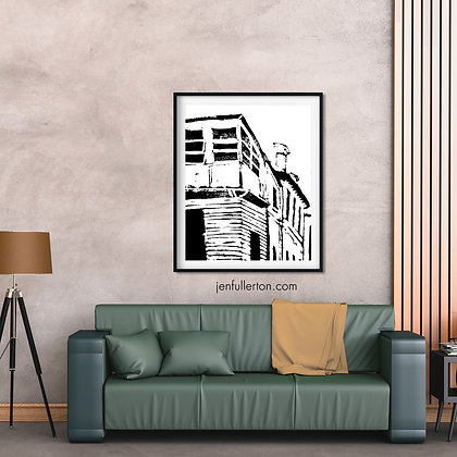 Forsaken – house print from original lino print