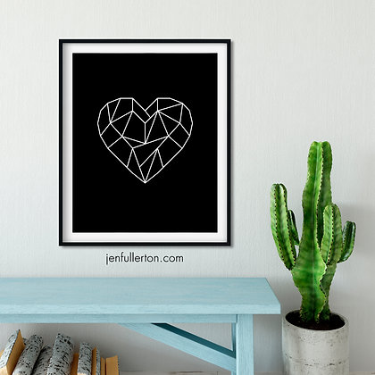 Heart (all black) – geometric digital art