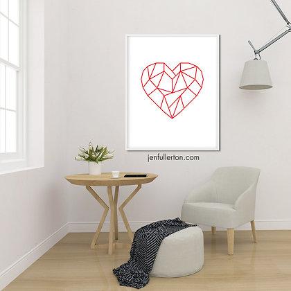 Heart (red/white) – geometric digital art