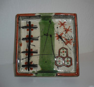 square, footed slab dish