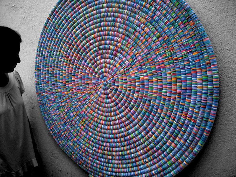 Espiral azul e rosa