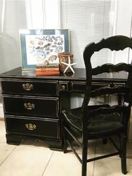 "Elegant Black French Country Desk & Chair 47.5""w 30""h 17 1/4"""