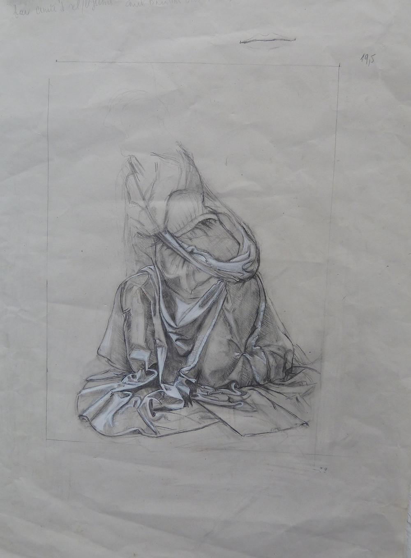 copie d'un dessin de Léonard de Vinci dont l'original se trouve à Londres et sur fond rouge