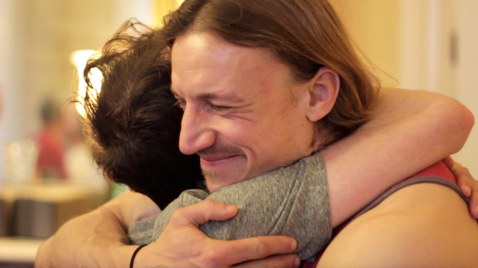 A loving masculine embrace