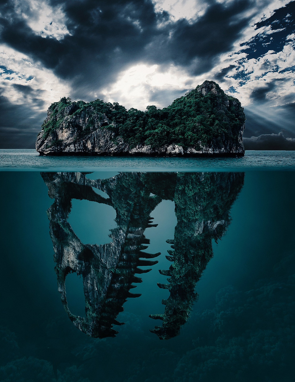 An artist concept imagination graphically designs an island that looks like a Dinosaur skull