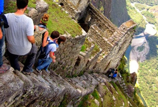 """View of the fifth """"scariest stairs in the world"""" from the top (November 2014)"""