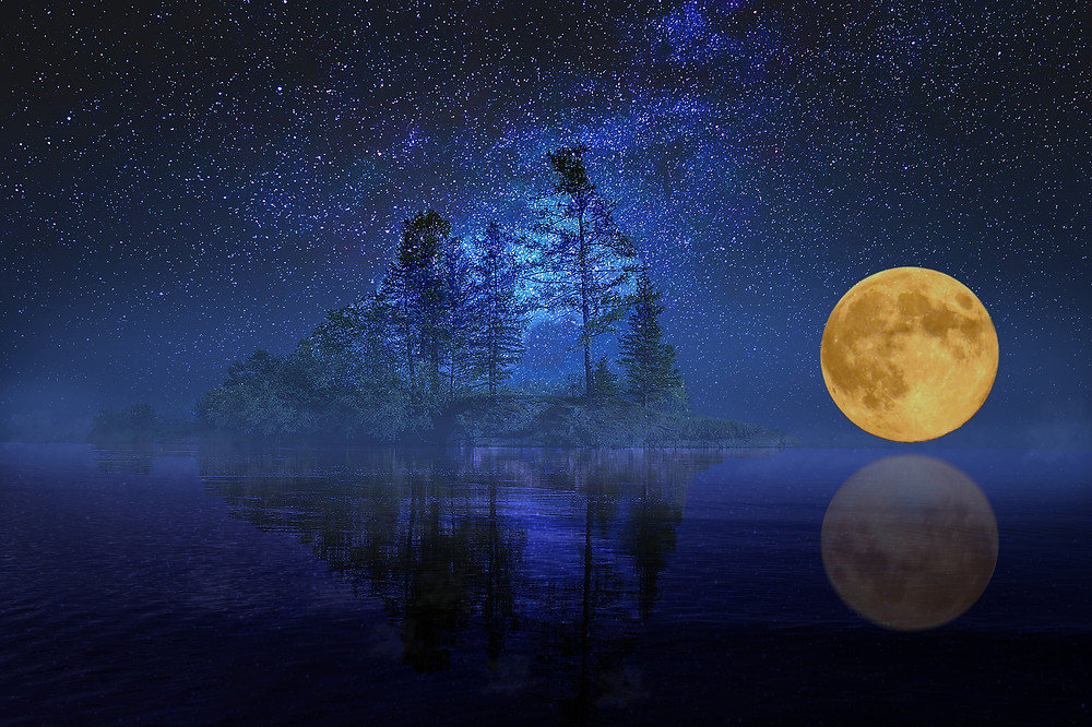 Kenneth Kiwicz uses a picture of a full moon over a lake shining with splendor to illustrate his quote.