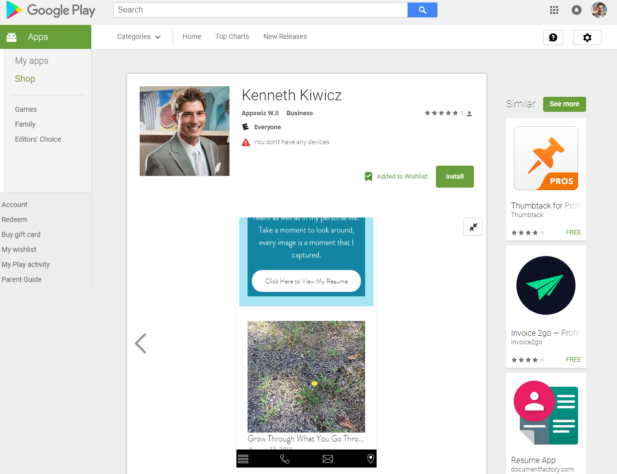 Kenneth Kiwicz shows more screenshots to show app layout.