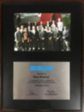 Kenneth J Kiwicz Ecolab B2B Sales and Customer Service Awards Counselor Sales Training Plaque